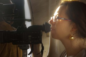 Producer checking camera settings